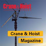 Kroll Crane with text overtop saying Crane & Hoist Magazine