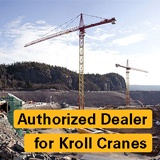 "Kroll crane with text ""Authorized Dealer for Kroll Cranes"""