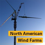 "Kroll Crane putting together wind turbine with text over top saying ""North American Wind Farms"""