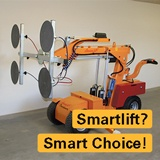 "Images of a smartlift crane with text saying ""smartlift? smart choice!"" over top"