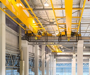 Overhead crane in warehouse for training